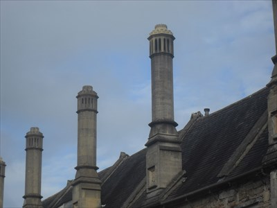 ...three of the east-side chimneys.