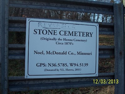 N36.5785, W94.5139 - Noel, Missouri, by MountainWoods.  This is the sign on the cemetery gate.  The sign is about 2 feet wide.  This is a people gate, not an auto gate.