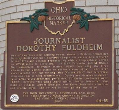 Journalist Dorothy Fuldheim (44 - 18) - Ohio Historical Markers on