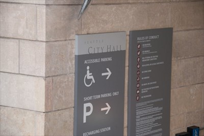 """Seattle City Hall.  Parking Garage """"Rules of Conduct"""""""