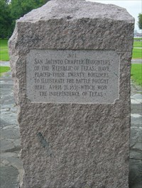 A DRT (Daughters of the Republic of Texas) marker. It is #01 on the San Jacinto Battfield map.