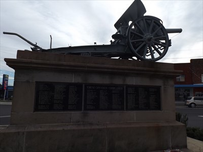 Looking west at the Field Gun (and Memorial).