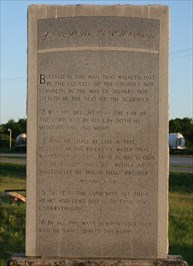 Bible verses etched in stone at the Stinson Materials site in Mill Creek, OK