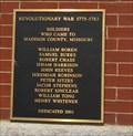 Image for Madison County Revolutionary War Memorial Plaque - Fredricktown, Missouri