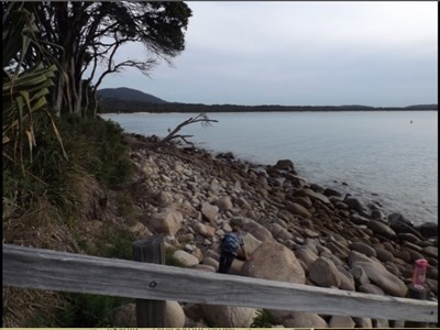 Downsized version, of Front Beach, looking south at the rocky surface.