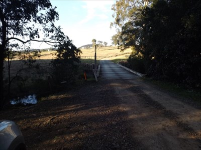 Location view of the wooden Plank Bridge on Kennedys Gap Road, Coolongolook, NSW.1600, Friday, 12 August, 2016