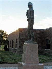 He now guards the entrance to the Museum of 