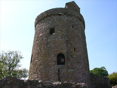 Orchardton Tower with grange ruins,