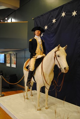 This statue of General Washington stands inside of the Visitors Center