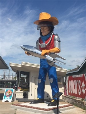 Buck Atom Space Cowboy Muffler Man 21' fiberglass statue located at Buck Atom's Cosmic Curious shop on Historic Route 66 in Tulsa, Oklahoma