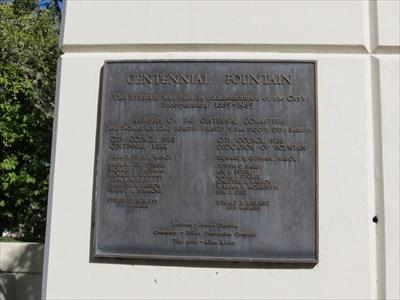 Centennial Fountain Plaque, Springfield, Oregon
