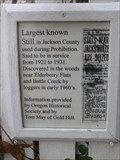 Image for 'Largest Known Still in Jackson County' Historical Marker - Jacksonville, OR