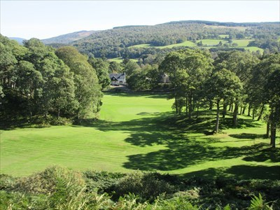 The view from the short third hole, looking down on the green below.