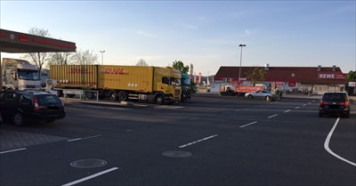 parking area and shop REWE