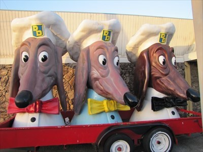 Doggie Heads on their Trailer, Teasure Island, San Francisco, California