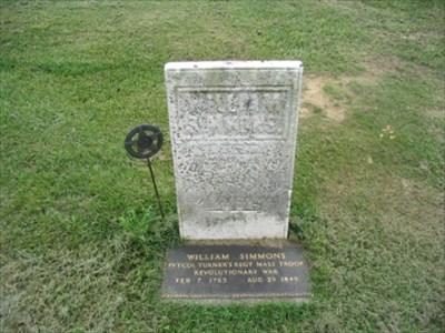 Headstone of William Simmons, Revolutionary War veteran