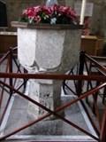 Image for Medieval font - LLancarfan Parish Church - Vale of Glamorgan, Wales.