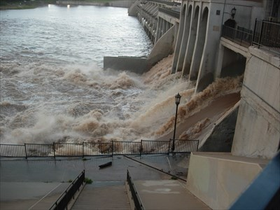 The spillway was opened to allow run-off from heavy rains to pass through and relieve flooding to the north and west.