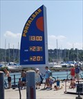 Image for Time and Temperature Sign at the Port - Portalban, FR, Switzerland
