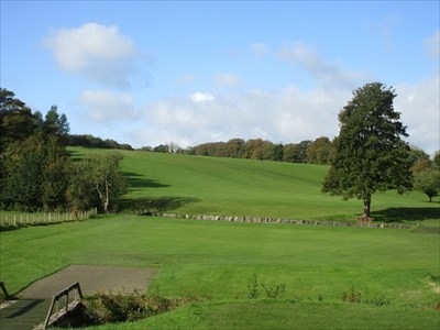 The opening tee shot has to carry the burn, then its uphill to the green on the left.