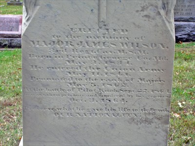"Monument placed by soldiers of the 3rd Missouri MSM Cavalry members are Civil War.The plaque notes that he was ""murdered by his captors"" on October 3,1864."