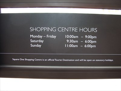 Shopping hours, but some stores like Zellers and Wal-Mart open earlier.