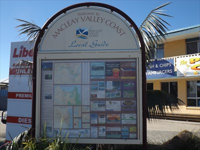 "The Community Guide Maps, out the front of ""The Point Cafe"", Stuarts Point."