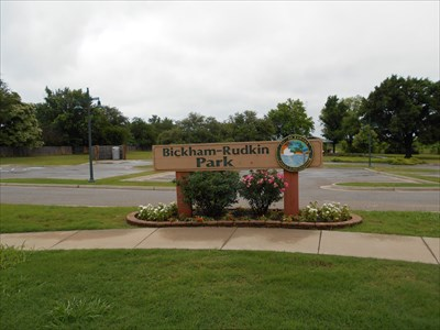 Here is the sign for the Bickham-Rudkin Park.