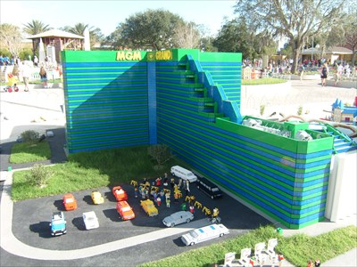 An Exact Replica of the MGM Grand Hotel in Las Vegas, made entirely of Lego Bricks, Located in Legoland, Florida, Near Lake Wales.