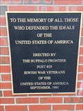 Image for Jewish War Veterans Post #25 Memorial Plaque - Buffalo, NY
