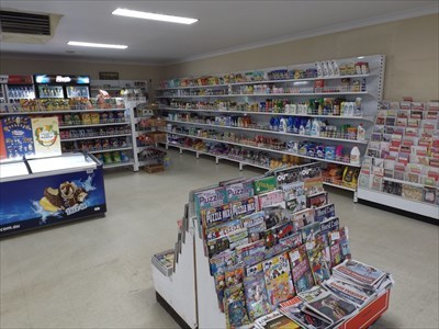 Inside, showing the Groceries and Newsagent. 0856, Sunday, 17 March, 2019