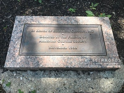The dedication plaque reads: <br><br> IN HONOR OF ELIZABETH GREGORY, MD <BR> DONATED BY THE FRIENDS OF <BR> ARMENIAN CULTURE SOCIETY <BR> • <BR> NOVEMBER 1998 <BR>