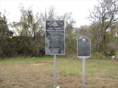"""The marker to the right is the """"Norwegian Settlements in Bosque County"""" Texas Historical Marker. Photo: November 27, 2009"""