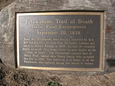 Potawatomi Trail of Death marker - Homer, IL - Trail of