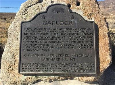 Here is the Garlock Historical Marker. I believe there were older versions as the text on this one doesn