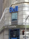 This is the Bell Canada building, and the marker is in the sidewalk in front of the doors at this part of the intersection.