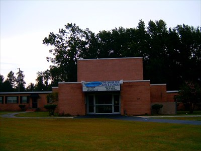 This is the front entrance of the Robeson Planetarium and Science Center at 420 Caton Road in Lumberton, NC, (intersection of highways NC 72 and NC 711).