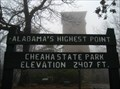 Image for Alabama's Highest Point, Cheaha State Park, Elevation 2407 FT.