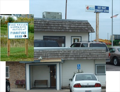Montage of sign, main entrance, and smaller sign pointing to furniture building.