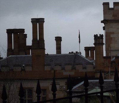 A cropped section for the unique chimney pots on this