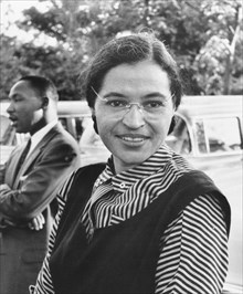 Public domain photo of Rosa Parks & Martin Luther King Jr.