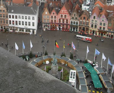...from the Belfort. Lots of other flags with the National and City flags.