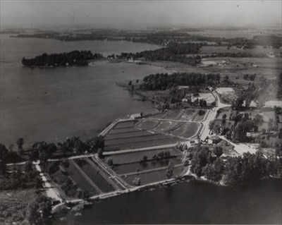 A good aerial shot showing all the ponds and the tanks. Likely taken in the 1950