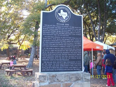 Here is the historic marker inside the Dallas zoo.