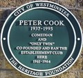 Image for Peter Cook Green Plaque - Greek Street, London, UK