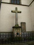 Image for Kríž u kostela Narození Panny Marie/ cross in front of the church, Jindrichuv Hradec, Czech republic