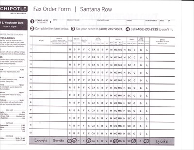 photo about Chipotle Printable Order Form titled Chipotle - Santana Row - San Jose, CA - Takeout / Shipping and delivery