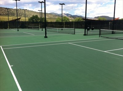 Tennis Courts against the Rocky Mtn Foothills, Spring Canyon Park, Fort Collins, CO