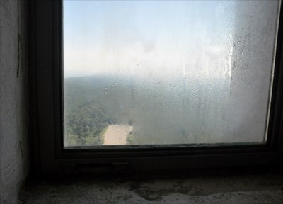Condensation on North facing window at the top of High Point Monument NJ