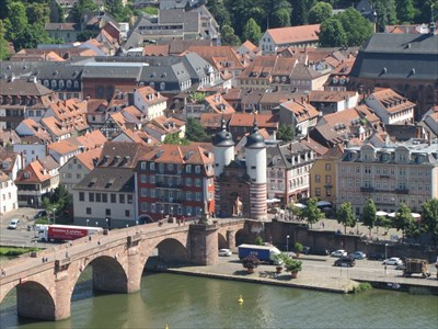 Tower and Bridge from Viewpoint, Heidelberg, Germany